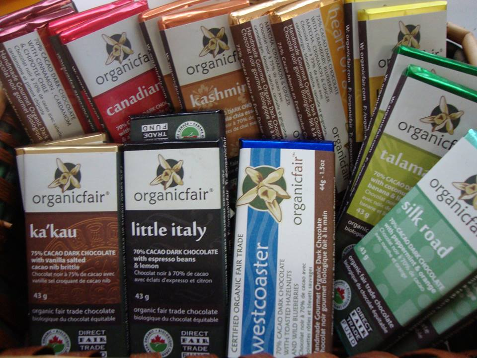 A bunch of Organic Fair chocolate bars.